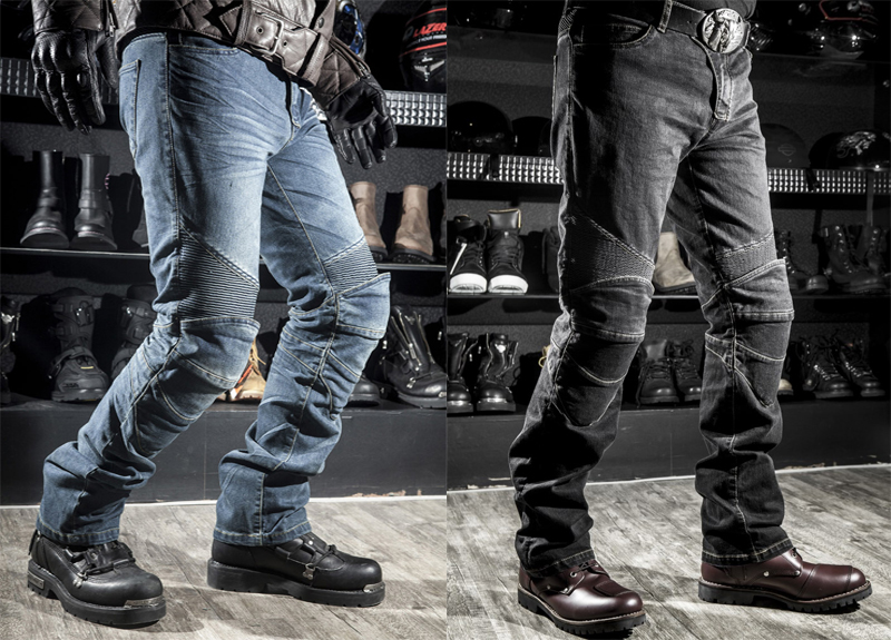 With protections! New R2 Locomotive jeans With knee protector Rider pants CE Gear Motorcycle Shorts Leisure Cultivate Jeans