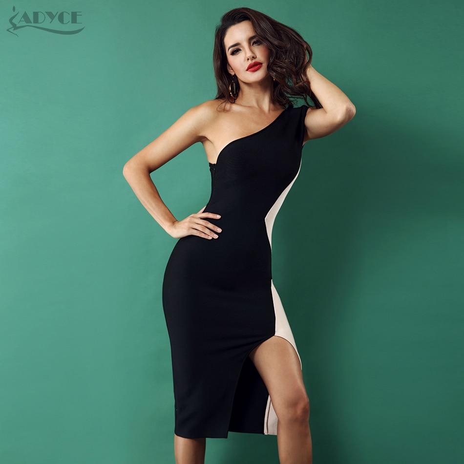 Adyce 2019 Women New Bandage Dress One Shoulder Sleeveless Side Split Dress Celebrity Evening Party Dresses