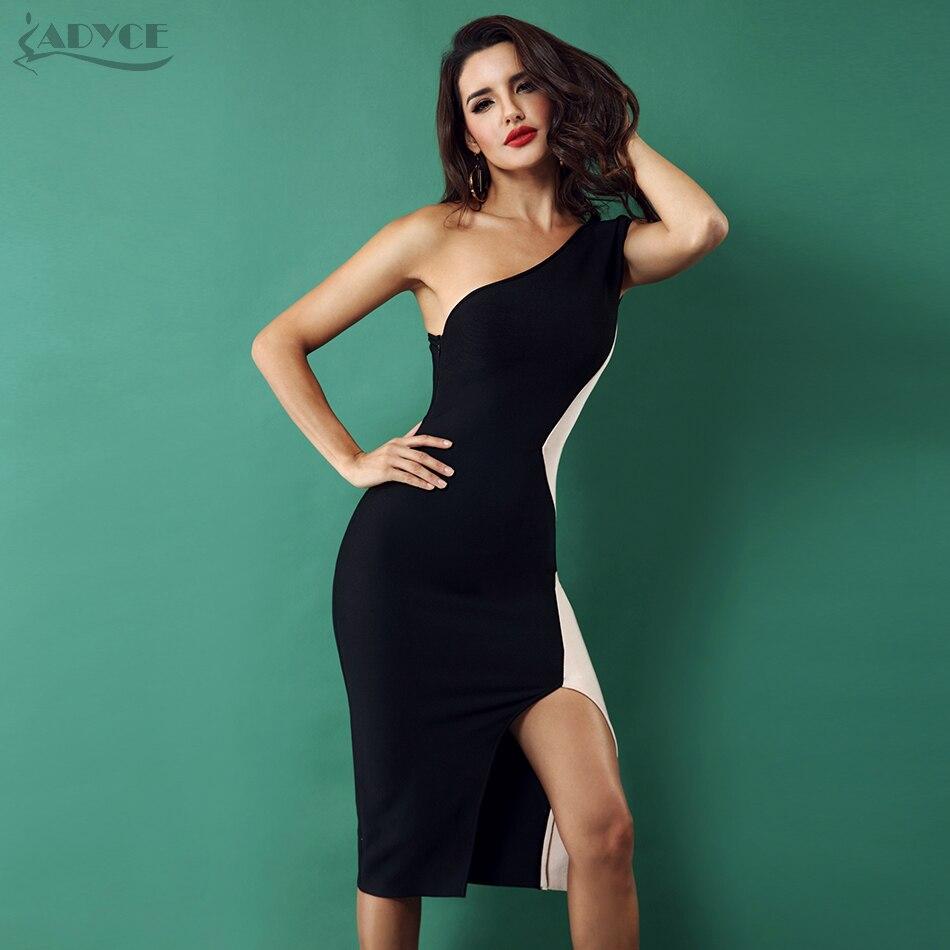 Adyce 2019 femmes nouvelle robe Bandage une épaule sans manches côté fente robe célébrité soirée robes de soirée robes de festa