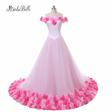 Modabelle Gelinlik Pink Colored Floral Flower Wedding Dress 2017 Long Train Princess Wedding Ball Gowns Arab Bridal Gowns
