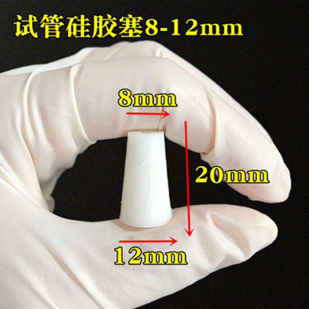 10pcs Silicone Stopper For Glass Test Tube Upper Diameter 12mm * Lower Diameter 8mm