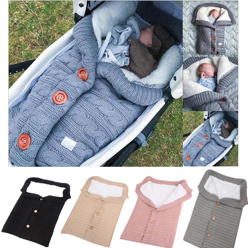 Infant Baby Button Blanket Knitted Crochet Winter Warm Swaddle Wrap Sleeping Bag Single Breasted Stroller Wrap Sleep Sacks FJ88