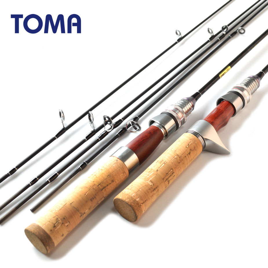 TOMA Fishing Rod Carbon Spinning Rod Casting Red Wood Design 1.8m Power UL L 2 Sections Ultralight Lure Fishing Rod Tackle