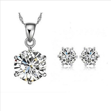 2014 New Arrival Valentine's Day gift Elegant Jewelry Set Necklace Pendant Stud Earring With Grade AA Zirconia Crystal For Women