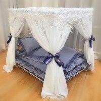 Кровать принцессы eluxe суд кровать железная подстилка для питомца домашнее животное гнездо плюшевый медведь собака дом кровать