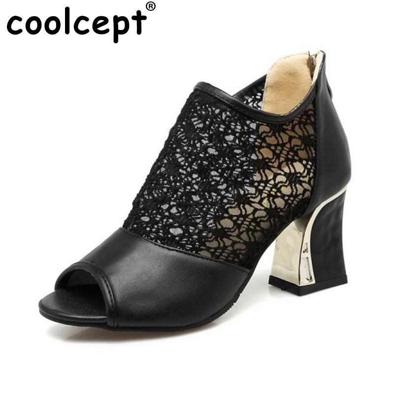 Coolcept Size 32-43 Sexy Women High Heel Shoes Women Patchawork Lace Peep Toe Thick Heel Pumps Party Club Fashion Women Footwear amourplato women s ladies handmade fashion big large size thick block heel closed toe high heel party office pumps chunky shoes