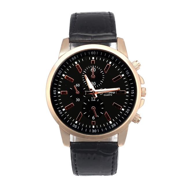 Mens Watches Top Brand Luxury Leather Analog Dial Quartz Clock Sport Wrist Watch
