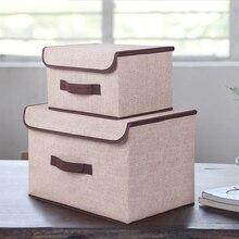 Caja De Almacenamiento Con Tapa 2 Tamaño algodón Y Liene Ropa Calcetines Sundries Organizador de Aperitivos Juguete Sistema de la Caja de Almacenaje de la Ropa Organizador
