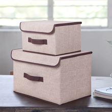 Storage Box With Cap Cotton And Liene 2 Size Clothes Organizer Socks Toy Snacks Sundries Box Set Clothing Storage Organizador