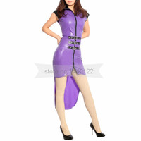 Asymmetric design latex dress long tail sexy bodycon with front zip BNLD245