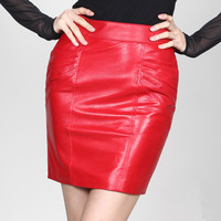 Free Shipping! 2015 Autumn and Winter Female Slim Hip Bust Skirt Tailored,Women's Red Sexy Faux Leather Short Skirts