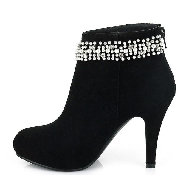 ФОТО Boots Genuine Leather Women Large size small yards Thin Heels high heel 9.5CM Platform 1.2CM EUR size 33-40