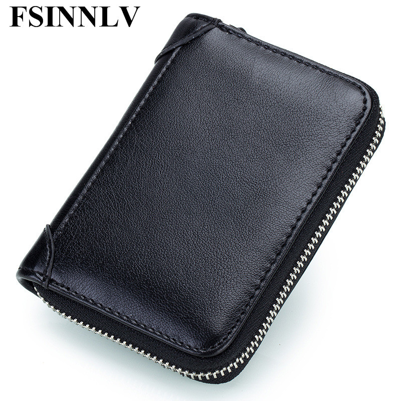 Fsinnlv genuine leather unisex id card holder card wallet credit fsinnlv genuine leather unisex id card holder card wallet credit card business card holder organizer driver license bag dc227 in card id holders from colourmoves