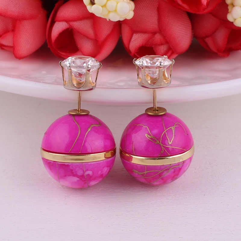 Nieuwe Collectie Kleurrijke Dubbele Kanten Parel Luxe Stringy Goud Grote Bal goudgerande Kroon Kristallen Oorbellen Voor vrouwen