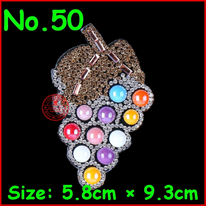 1 pcs Lot grapes patches hotfix rhinestones iron on crystal motifs patches for children kids women clothes diy accessories in Rhinestones from Home Garden