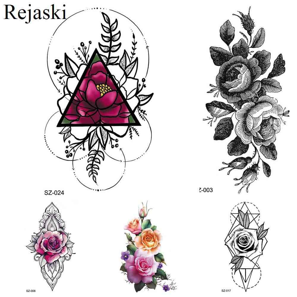 756b0016d Rejaski Colorful Geometry Flower Temporary Tattoo Stickers Women Fake  Tatoos Lotus Makeup Tips Waterproof Tattoo Black