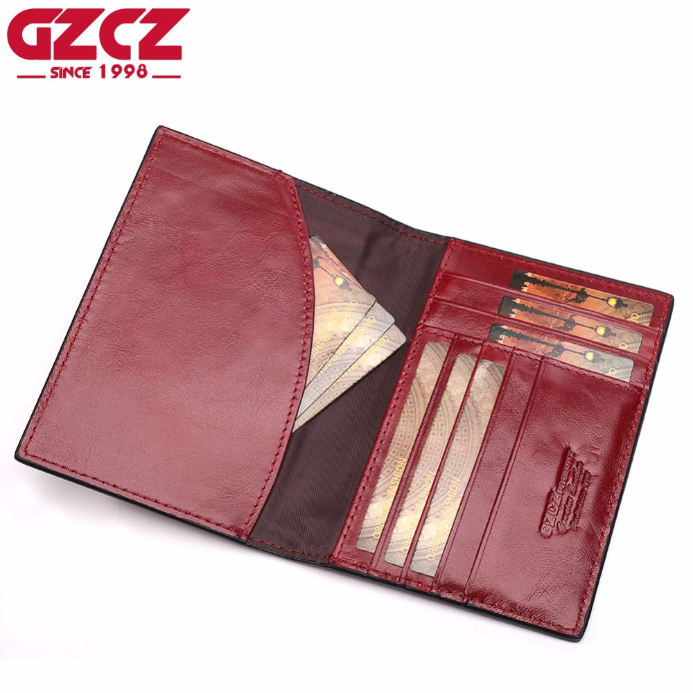 GZCZ Genuine Leather Women Wallet Female Passport Card Holder Coin Purse Small Walet Clamp For Money Super Thin Portomonee gzcz genuine leather men wallet fashion coin purse card holder small wallet men portomonee male clutch zipper clamp for money