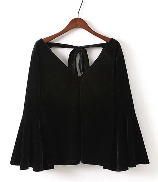 Gratuite shirts De Nouveau Long Velours Et V Manches cou Bandage Noir Femmes Lâche Tops S 10xl 2018 Plus T Taille Mode Brun Livraison La Lanterne fw4q7S4d