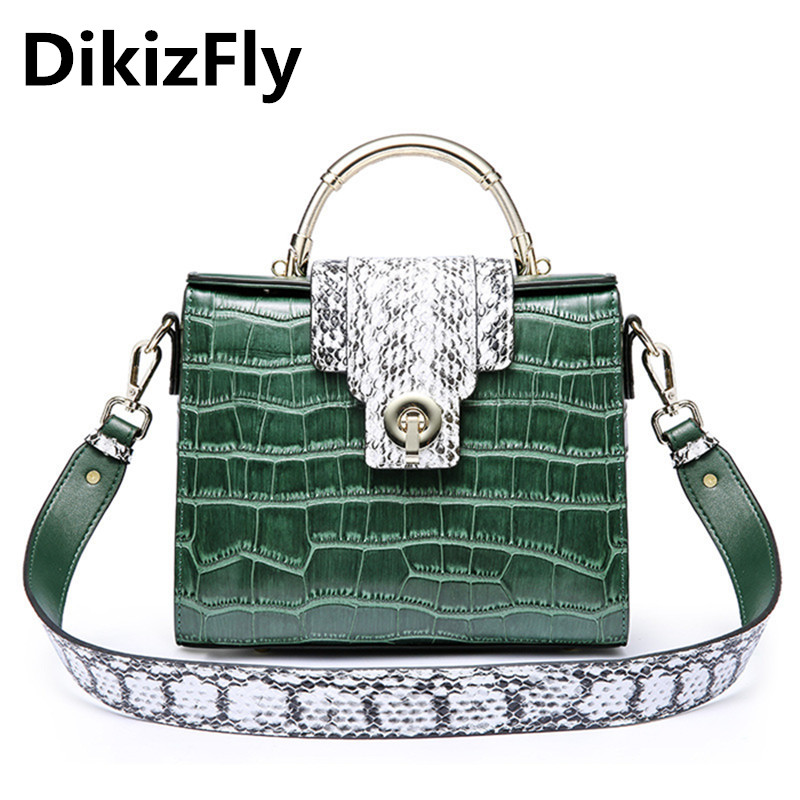 DikizFly Fashion Alligator Totes Bags Women Messenger Bags Split Leather Shoulder Bag Crocodile Women Bag Brand Handbags Luxury motorcycle cm 125 front wheel brake cylinder disc brake pump assy motorbike up pump brake level for honda cm125 cm 125