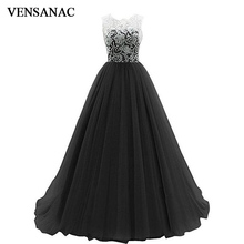 VENSANAC 2018 O Neck Lace Embroidery A Line Long Evening Dresses Elegant Party Buttons Illusion Back Prom Gowns