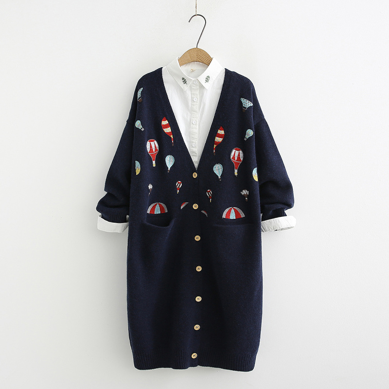 Heavy duty color hot air balloon embroidery long Cardigan sweater mori girl