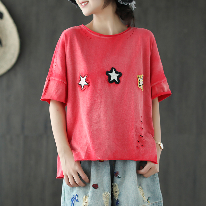2018 new cotton and linen vintage style all match women spring and summer paste cloth button pullover short sleeve tops