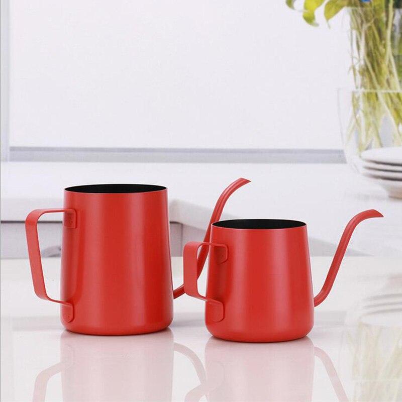 Чайник с гусиной шеей 250 мл/350 мл, толстый капельный кофейный чайник из нержавеющей стали, цветной кофейник с длинным горлышком, чайник