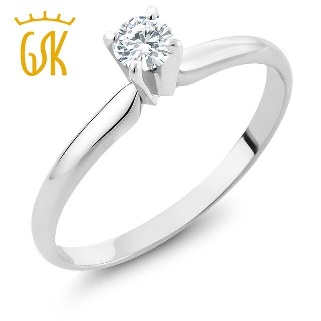 GemStoneKing IGI Сертифицированный Природных Алмазов Ювелирные Изделия 0.15 КТ Круглая Огранка Алмазный 14 К Белое Золото Пасьянс Обручальное Кольцо Для женщины