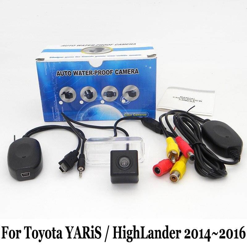 Авто заднего вида Камера для Toyota Yaris XP150 Highlander 2014 2015  2016 RCA AUX Провода или Беспроводной  HD парковки Камера bb037497167