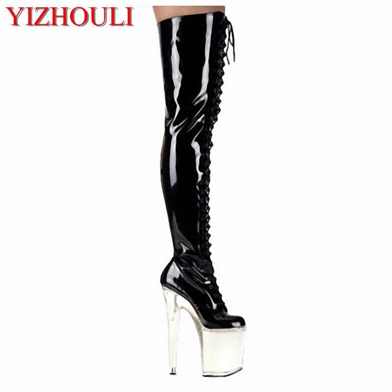 Super haute talons, minuit magasin 20 cm haute talon séduit modèle fille chaussures de danse, cuisson peinture ultra genou-haut De Danse Chaussures