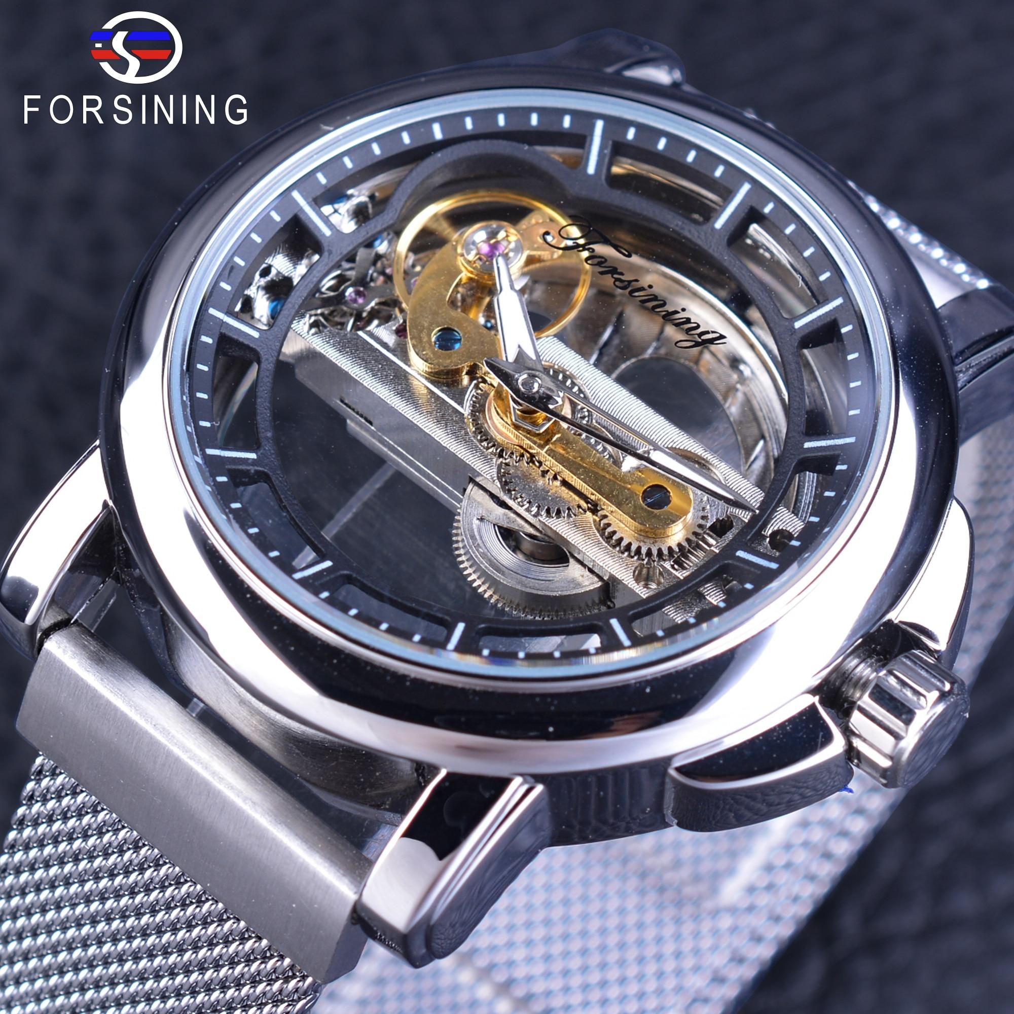 все цены на Forsining Casual Watch Men's Mechanical Watch Top Brand Luxury Waterproof Skeleton Watches Silver Mesh Stainless Steel Band онлайн