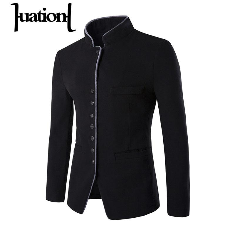 Huation 2019 Winter Fashion Casual Blazer Suit Men Slim Fit Jacket Brand Stand Collar Coats Formal Suit Blazer terno masculino