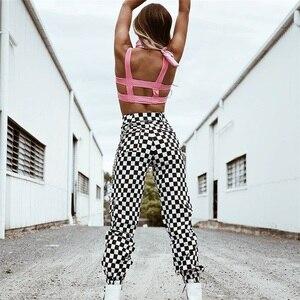 Image 4 - Instahot Plaid Rits Gothic Broek Vrouwen Hoge Taille Casual Streetwear Treousers 2020 Cargo Broek Herfst Pantalones Met Ketting