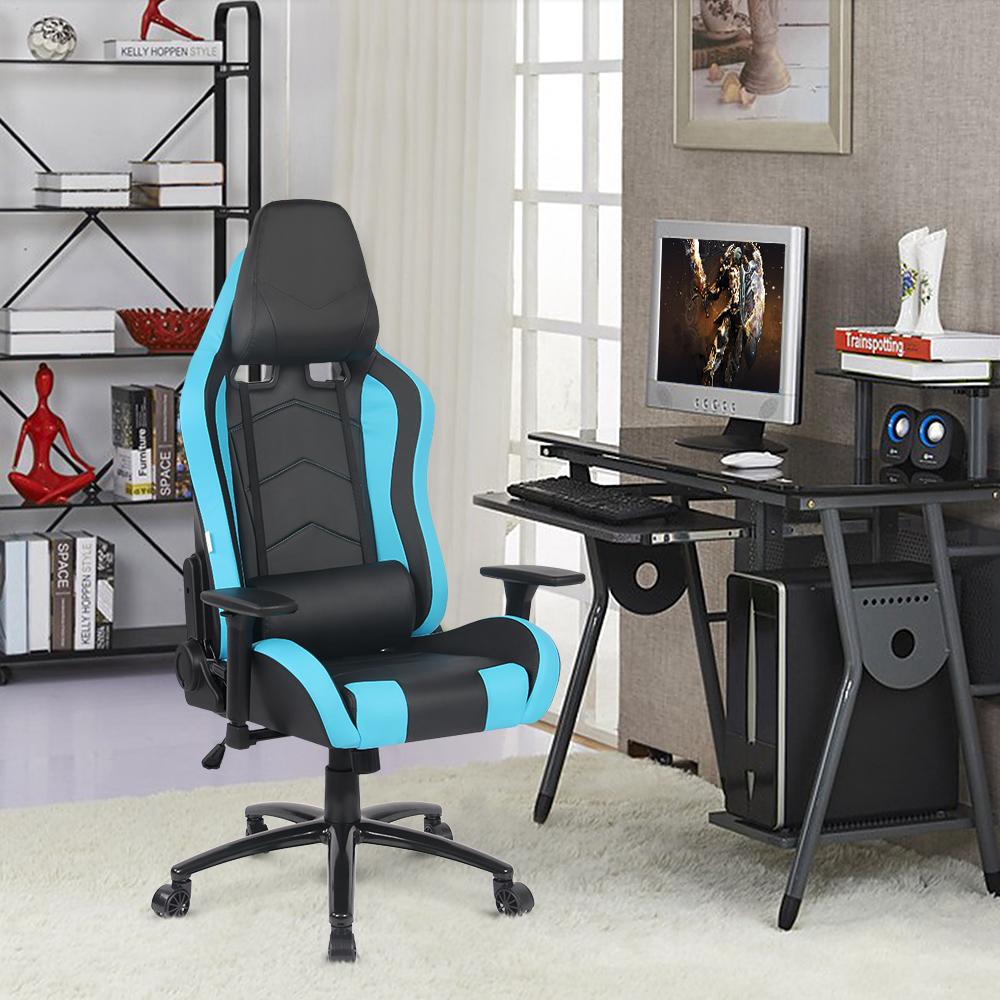 ikayaa us uk fr stock gaming office chair computer chair recline height armrest adjustable swivel function