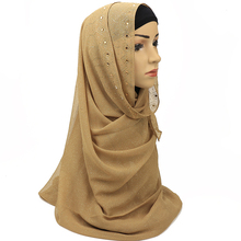 Shinny Crystal Muslim Hijab Printed Instant Shawls Jersey Chiffon Long Scarf Amira Slip On Scarves Wraps Women Headband