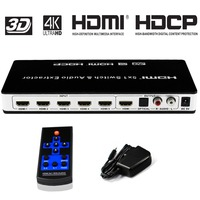 HDMI Switch 5x1 Audio Extractor 4K x 2K@30hz 5 Port hdmi switcher Supports Ultra HD 4K Full HD 1080P 3D ARC with IR Re