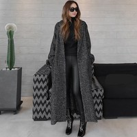 2018 Winter Women Long Woolen Coat Fashion Herringbone Pattern Loose Jackets And Coats Single Button Warm Overcoats
