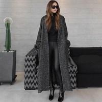 2018 Winter Women Long Woolen Coat Fashion Herringbone Pattern Loose Jackets And Coats Single Button Warm Overcoats