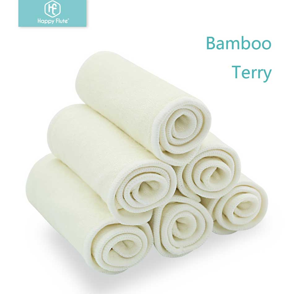 HappyFlute 10 Pcs Bamboo Insert Reusable Washable Breathable Inserts Boosters Liners For Baby Cloth Diapers Nappy