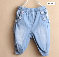 New Arrival 2014 Summer Fashion Baby Girls Shorts Denim Apprliques Flowers Children S Clothing Girls Lolita