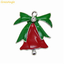 Hot 10PCS Alloy+Enamel Christmas Deco Bell Charms Fashion Jewelry Making Accessory High Quality Pendant Vintage Silver+Red Green(China)