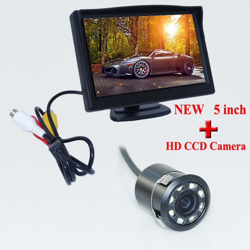 2in1 5inch car monitor mirror Universal car rear view parking reverse camera CCD HD Night vision
