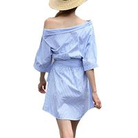 One Shoulder Blue Shirt Dress Women Elegant Half Sleeve Casual Beach Dresses 2017