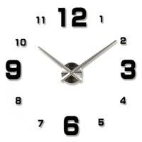 Специальный большой DIY кварцевые 3D настенные часы Гостиная Большой акрил часы зеркало Наклейки современный Дизайн и декор черный