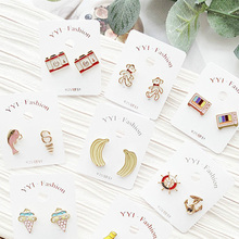 Women Cartoon Bear Camera Ice Cream Banana Anti-allergy Drop Bangle Earrings Korea Handmade Fashion Jewelry Holiday-JQD5