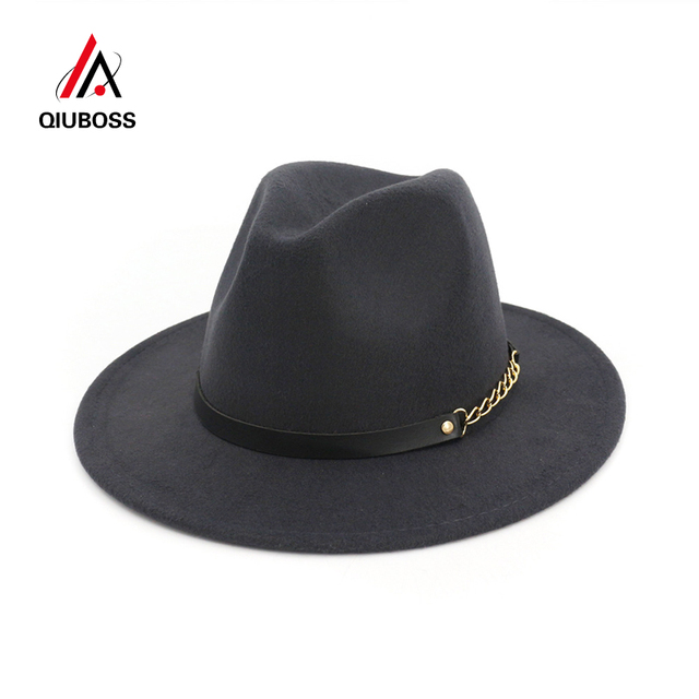 da43349d3 US $9.09 35% OFF|QIUBOSS Wholesale Unisex Wool Felt Fedora Hats for Women  Vintage Wide Brim Mens Fedoras Cap and Jazz Hat Panama Formal Hat-in Men's  ...
