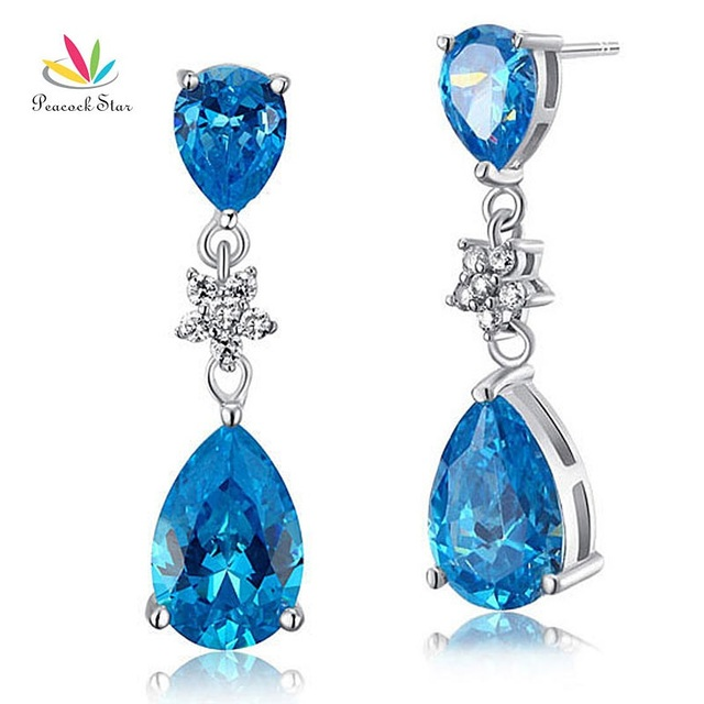 Peacock Star Solid 925 Sterling Silver Dangle Drop Fashion / Bridesmaid Earrings Aqua Blue Simulated Topaz Jewelry CFE8015