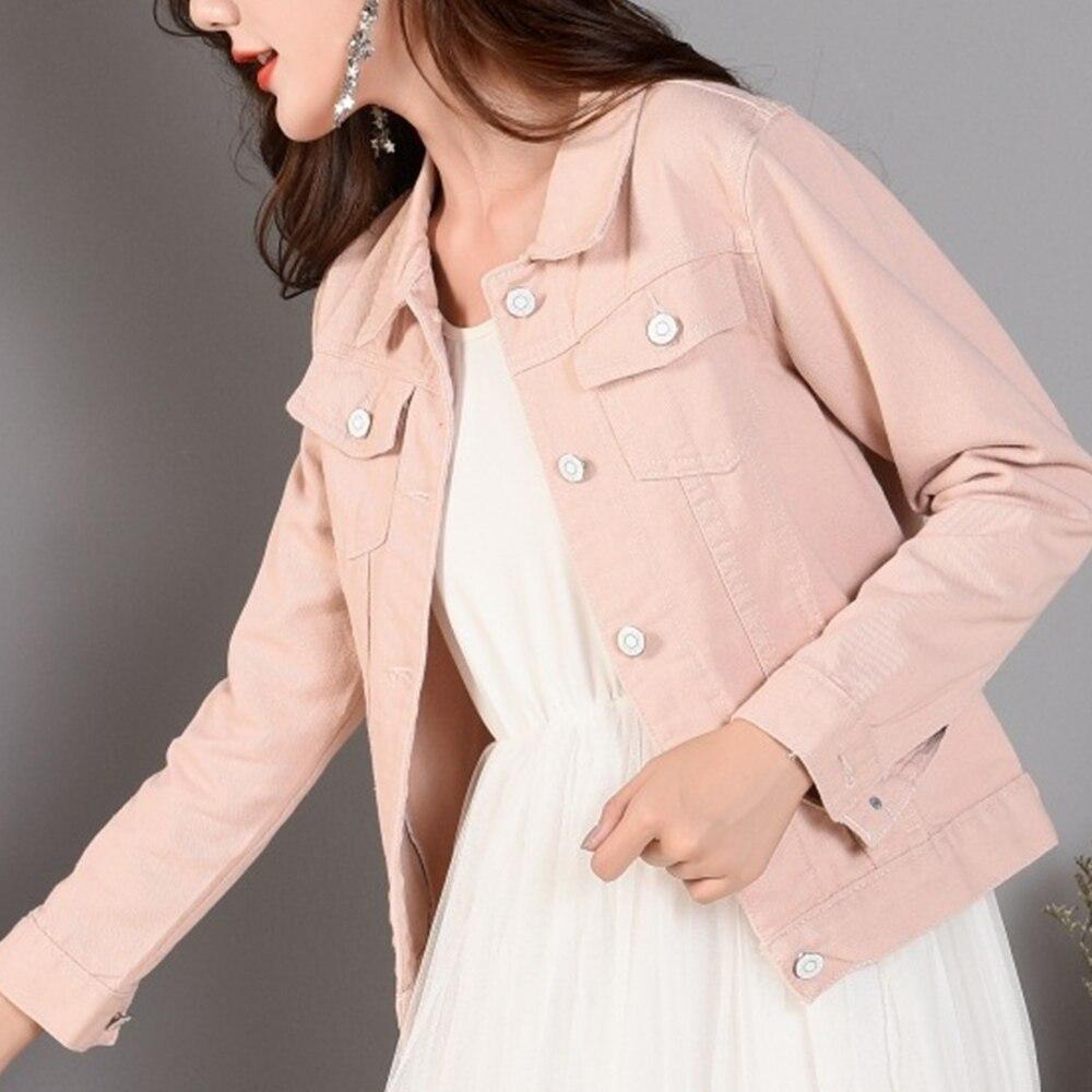Gentillove Women 2019 New Fashion Denim Jackets Autumn Casual Long Sleeve Basic Short Jean Jacket Vintage Korean Harajuku Coats