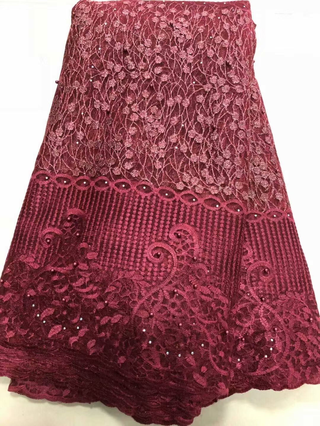 Apparel Sewing & Fabric Competent 2019 Latest Nigerian Wine Red Laces Fabrics High Quality African Laces Fabric For Wedding Dress French Tulle Lace Fy3036 Yet Not Vulgar