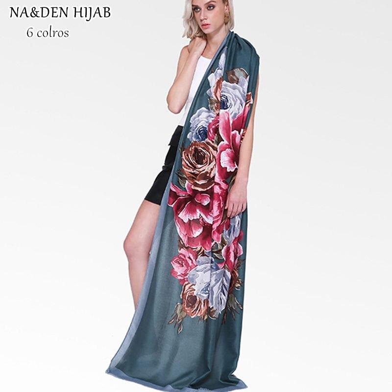 NEW big flower hijab scarf soft pashmina print fashion muslim scarfs women scarves shawls brand wrap